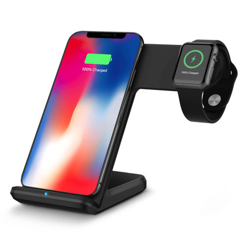 10W Dual Qi Fast Wireless Charging Stand - Apple Watch 4 / iPhone Xs